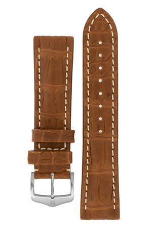 Hirsch Capitano Padded Alligator Leather Water-Resistant Watch Strap in Gold Brown with White Stitch (with Brushed Silver Steel H-Classic Buckle)