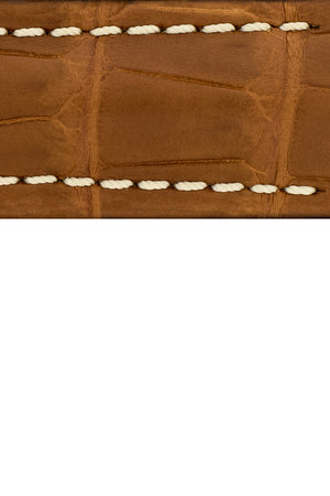 Hirsch Capitano Padded Alligator Leather Water-Resistant Watch Strap in Gold Brown with White Stitch (Texture Detail)