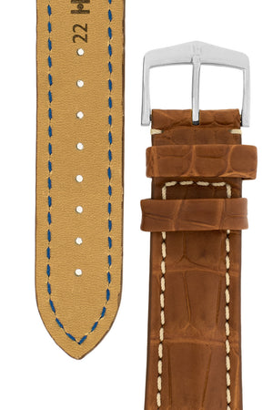 Hirsch Capitano Padded Alligator Leather Water-Resistant Watch Strap in Gold Brown with White Stitch (Tapers & Buckle)