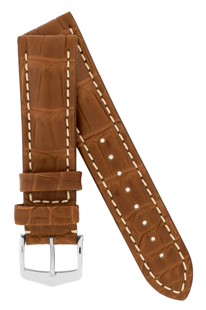 Hirsch Capitano Padded Alligator Leather Water-Resistant Watch Strap in Gold Brown with White Stitch