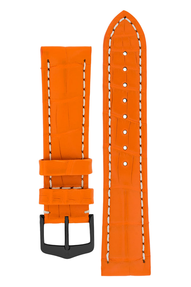 Hirsch Capitano Padded Alligator Leather Water-Resistant Watch Strap in Orange with White Stitch (with Polished Black PVD-Coated Steel H-Classic Buckle)