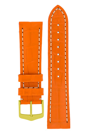 Hirsch Capitano Padded Alligator Leather Water-Resistant Watch Strap in Orange with White Stitch (with Polished Gold Steel H-Classic Buckle)