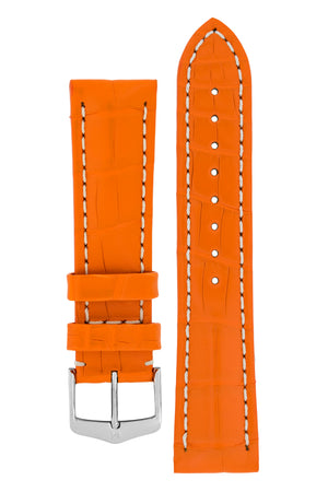 Hirsch Capitano Padded Alligator Leather Water-Resistant Watch Strap in Orange with White Stitch (with Polished Silver Steel H-Classic Buckle)