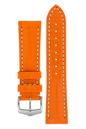 Hirsch Capitano Padded Alligator Leather Water-Resistant Watch Strap in Orange with White Stitch (with Brushed Silver Steel H-Classic Buckle)