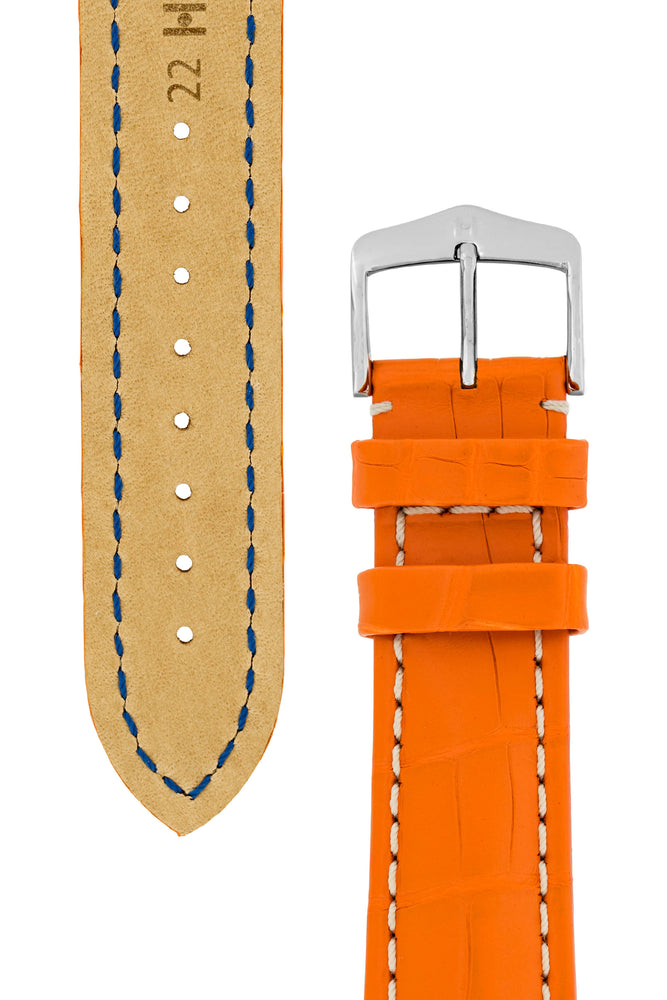 Hirsch Capitano Padded Alligator Leather Water-Resistant Watch Strap in Orange with White Stitch (Tapers & Buckle)