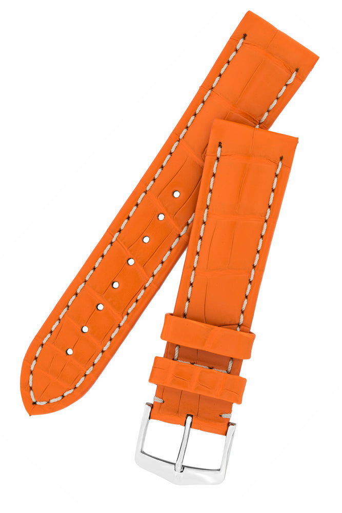Hirsch Capitano Padded Alligator Leather Water-Resistant Watch Strap in Orange with White Stitch