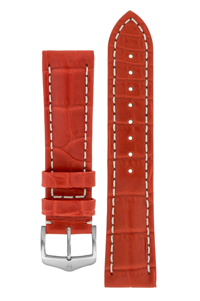 Hirsch CAPITANO Padded Alligator Leather Water-Resistant Watch Strap in RED