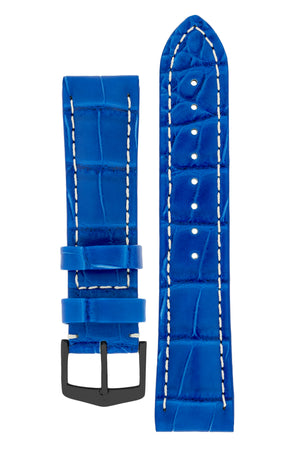 Hirsch Capitano Padded Alligator Leather Water-Resistant Watch Strap in Royal Blue with White Stitch (with Black PVD-Coated Steel H-Classic Buckle)