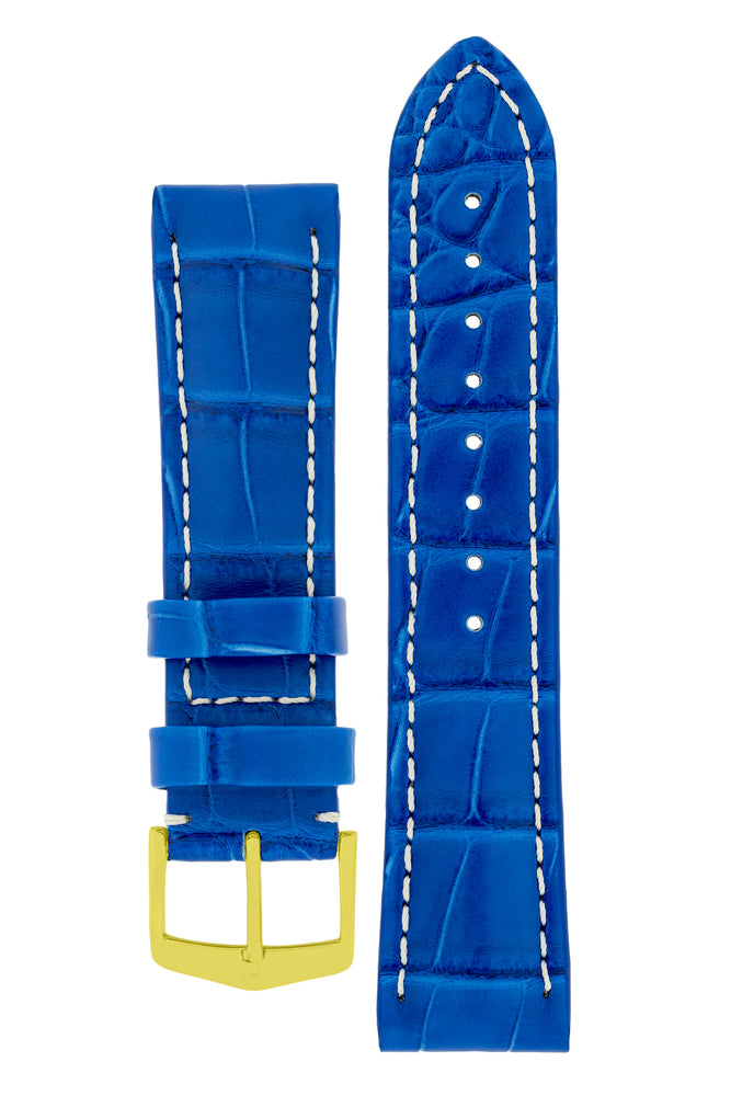 Hirsch Capitano Padded Alligator Leather Water-Resistant Watch Strap in Royal Blue with White Stitch (with Polished Gold Steel H-Classic Buckle)