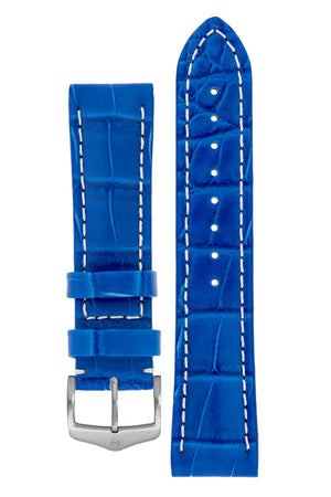 Hirsch Capitano Padded Alligator Leather Water-Resistant Watch Strap in Royal Blue with White Stitch (with Brushed Silver Steel H-Classic Buckle)