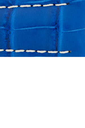 Hirsch Capitano Padded Alligator Leather Water-Resistant Watch Strap in Royal Blue with White Stitch (Texture Detail)