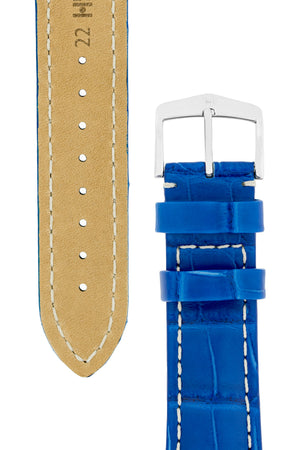 Hirsch Capitano Padded Alligator Leather Water-Resistant Watch Strap in Royal Blue with White Stitch (Tapers & Buckle)