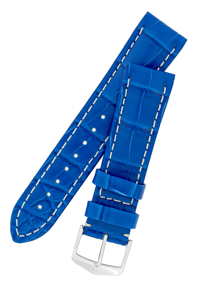 Hirsch Capitano Padded Alligator Leather Water-Resistant Watch Strap in Royal Blue with White Stitch