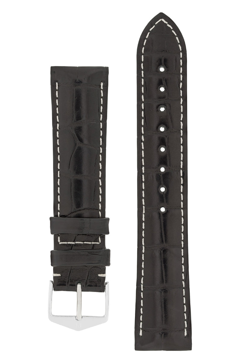 Hirsch CONNOISSEUR Genuine Alligator Watch Strap in BLACK