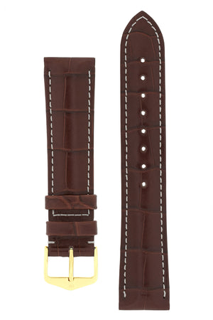 Hirsch CONNOISSEUR Genuine Alligator Watch Strap in BROWN