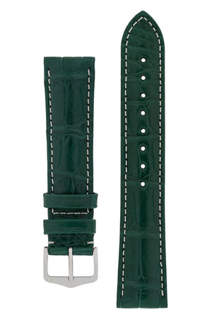 Hirsch CONNOISSEUR Genuine Alligator Watch Strap in DARK GREEN