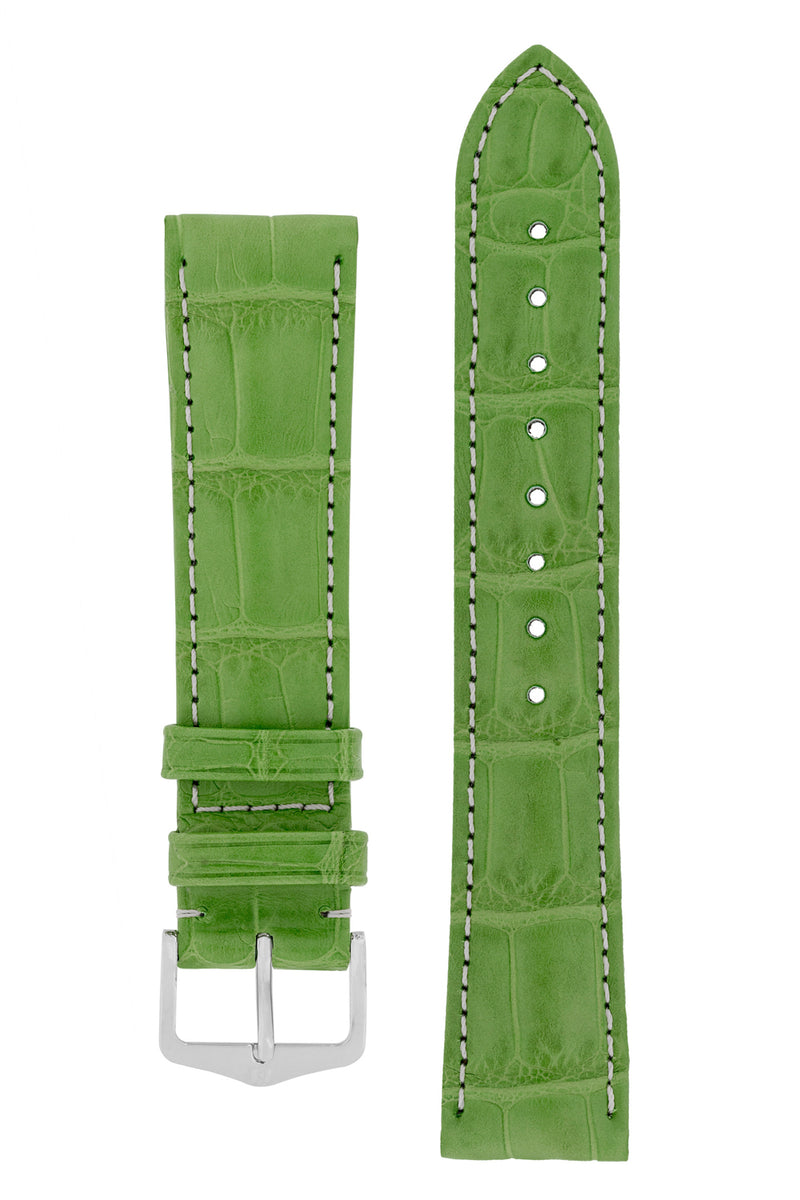 Hirsch CONNOISSEUR Genuine Alligator Watch Strap in GREEN