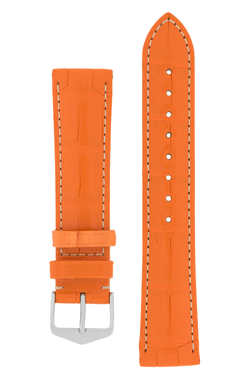 Hirsch CONNOISSEUR Genuine Alligator Watch Strap in ORANGE
