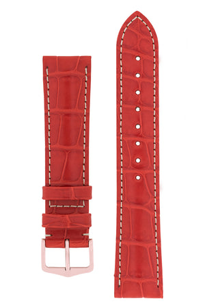 Hirsch CONNOISSEUR Genuine Alligator Watch Strap in RED