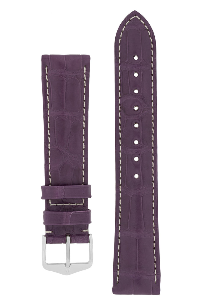 Hirsch CONNOISSEUR Genuine Alligator Watch Strap in VIOLET