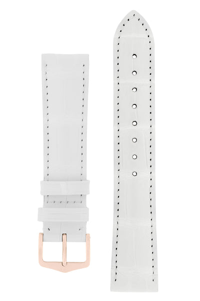 Hirsch CONNOISSEUR Genuine Alligator Watch Strap in WHITE