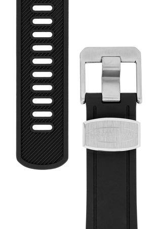 CRAFTER BLUE Curved End Rubber Watch Strap for Seiko Shogun Series – BLACK