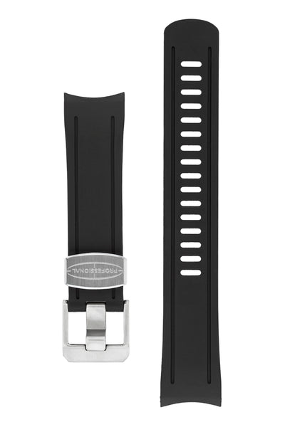 CRAFTER BLUE Rubber Watch Strap for Seiko SKX Series – BLACK with Steel Keeper
