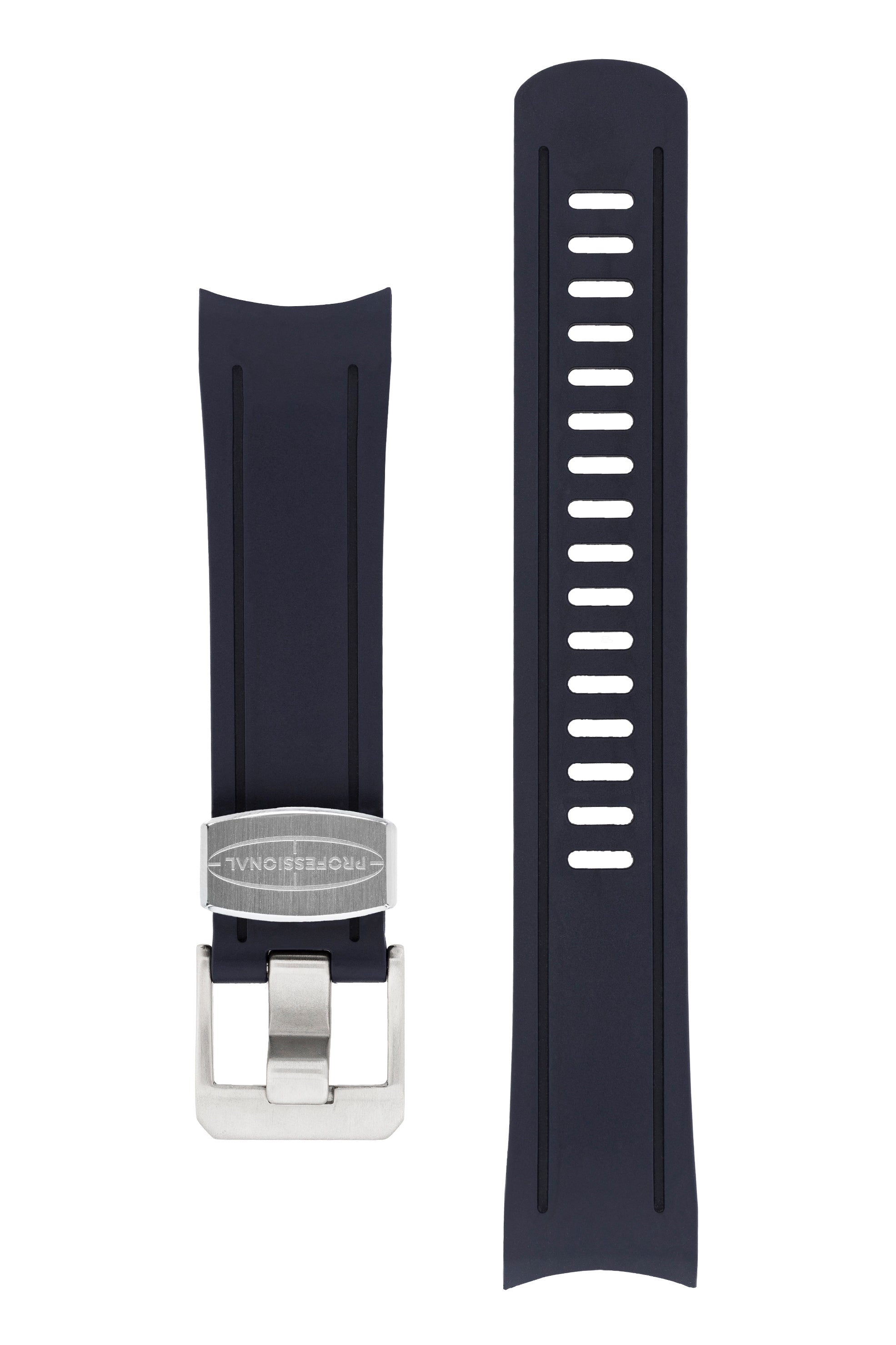 CRAFTER BLUE Rubber Watch Strap for Seiko SKX Series – NAVY BLUE with Steel Keeper