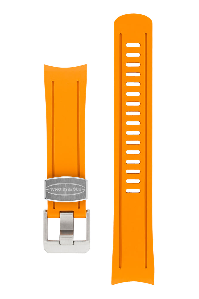Crafter Blue Rubber Watch Strap for Seiko SKX Series in Orange with Steel Keeper