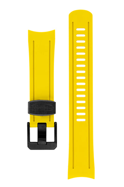 Crafter Blue Rubber Watch Strap for Seiko SKX Series in Yellow with Black PVD Steel Keeper