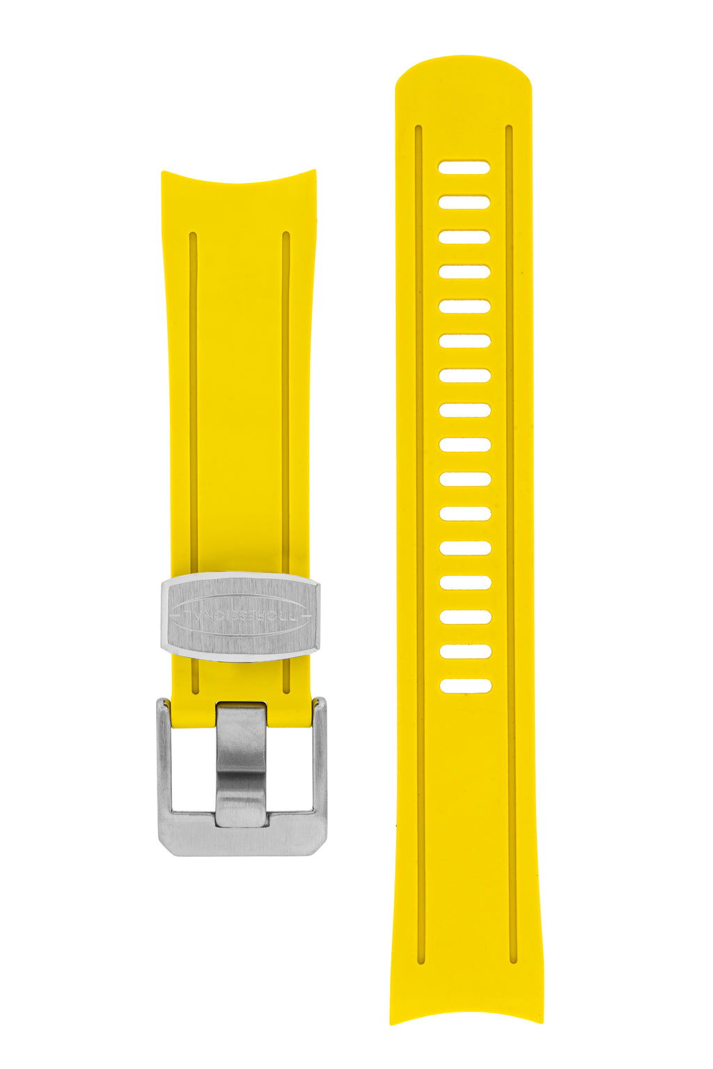 CRAFTER BLUE Rubber Watch Strap for Seiko SKX Series – YELLOW with Steel Keeper