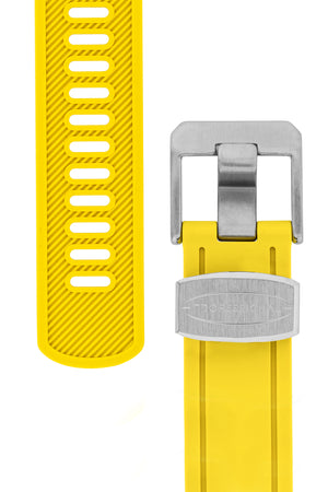 Crafter Blue Rubber Watch Strap for Seiko SKX Series in Yellow with Steel Keeper (Tapers & Buckle)