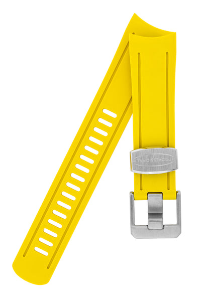 Crafter Blue Rubber Watch Strap for Seiko SKX Series in Yellow with Steel Keeper