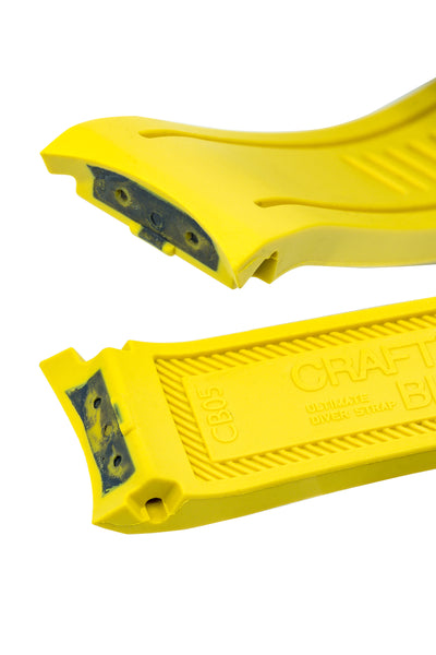 Crafter Blue Rubber Watch Strap for Seiko SKX Series in Yellow with Steel Keeper (Curved Ends)
