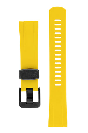 "Crafter Blue Rubber Watch Strap for Seiko ""New"" Turtle Series – Yellow (Black PVD Hardware)"