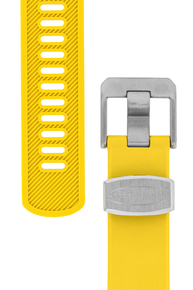 "Crafter Blue Rubber Watch Strap for Seiko ""New"" Turtle Series – Yellow (Tapers & Buckle)"