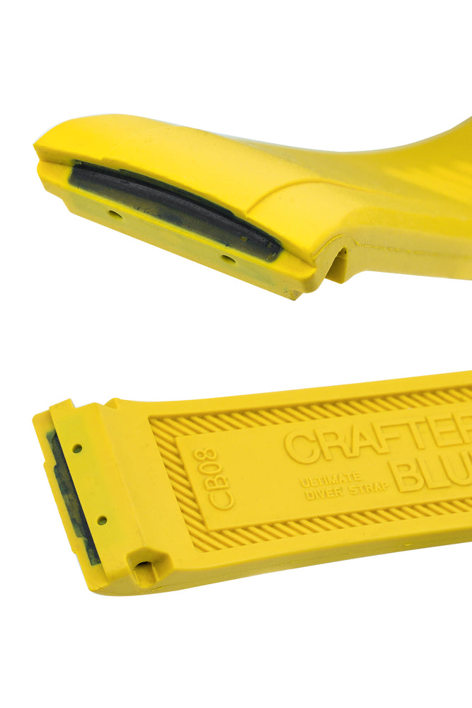 "Crafter Blue Rubber Watch Strap for Seiko ""New"" Turtle Series – Yellow (Curved Ends)"