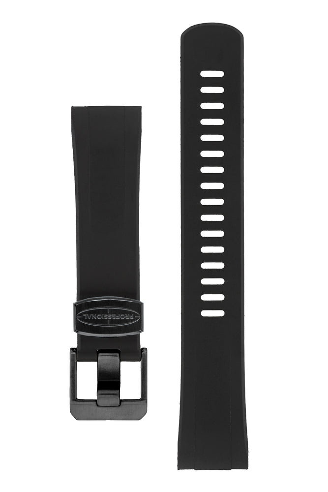 "Crafter Blue Rubber Watch Strap for Seiko ""New"" Turtle Series – Black (Black PVD Hardware)"