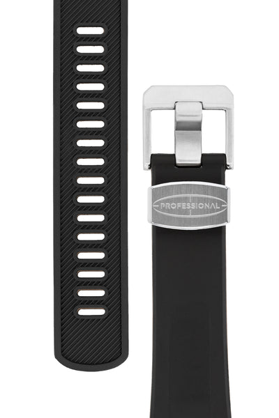"Crafter Blue Rubber Watch Strap for Seiko ""New"" Turtle Series – Black (Tapers & Buckle)"