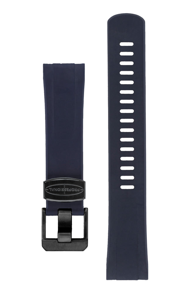 "Crafter Blue Rubber Watch Strap for Seiko ""New"" Turtle Series – Navy Blue (Black PVD Hardware)"