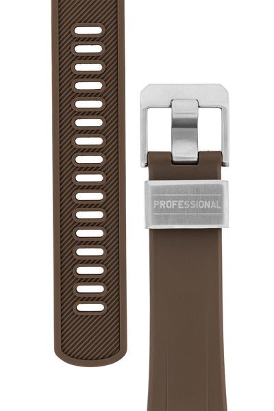 "Crafter Blue Rubber Watch Strap for Seiko ""New"" Turtle Series – Brown (Tapers & Buckle)"