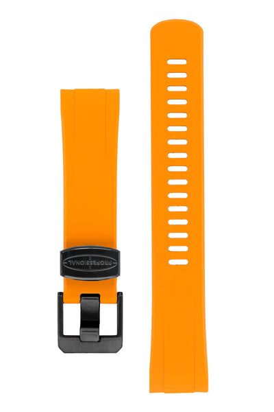 "Crafter Blue Rubber Watch Strap for Seiko ""New"" Turtle Series – Orange (Black PVD Hardware)"