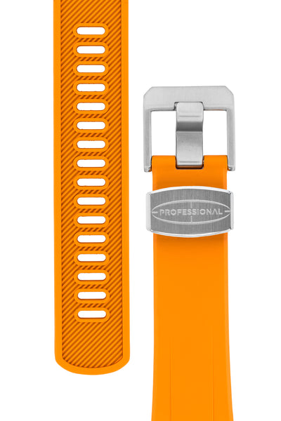 "Crafter Blue Rubber Watch Strap for Seiko ""New"" Turtle Series – Orange (Tapers & Buckle)"