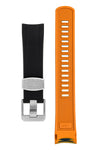 "CRAFTER BLUE Curved End Rubber Watch Strap for Seiko ""New"" Samurai Series – BLACK & ORANGE"