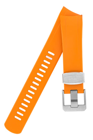 "CRAFTER BLUE Curved End Rubber Watch Strap for Seiko ""New"" Samurai Series – ORANGE"