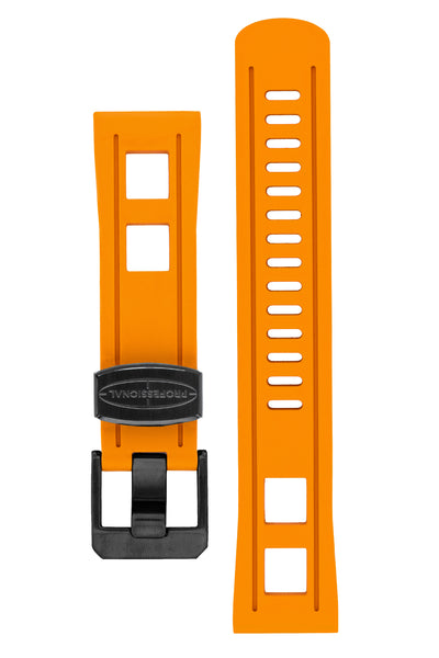 Crafter Blue Universal 22mm Watch Strap for Professional Dive Watch in Orange (Black PVD Hardware)