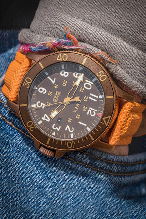 Load image into Gallery viewer, Di-Modell Traveller Polyurethane Nylon Waterproof Watch Strap in Orange (Promo Photo)