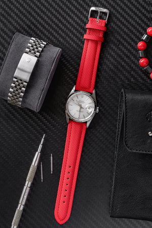 Di-Modell Traveller Polyurethane Nylon Waterproof Watch Strap in Red (Promo Photo)