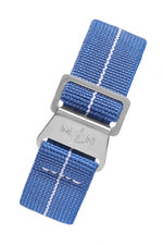 Erika's Originals DENIM BLUE MN™ Limited Edition Strap with WHITE Centerline - BRUSHED Hardware