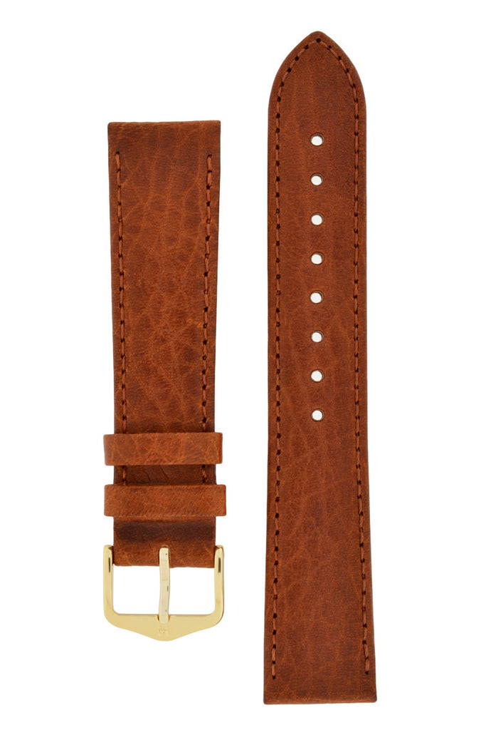 Hirsch DENVER Natural Leather Watch Strap in GOLD BROWN
